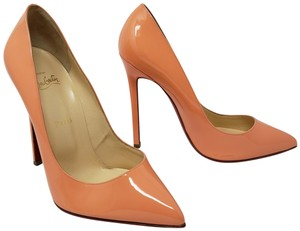 Christian Louboutin Patent Leather Pointed Toe Pigalle Red Sole So Kate Beige Pumps