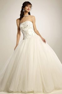 Eden White Satin and Tulle 2277 Traditional Wedding Dress Size 10 (M)