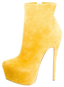 Christian Louboutin Suede Leather Daffodile Ankle Stiletto Platform Hidden Platform Red Sole Daf Daf New Sexy Pointed Toe 38.5 8.5 Yellow Boots