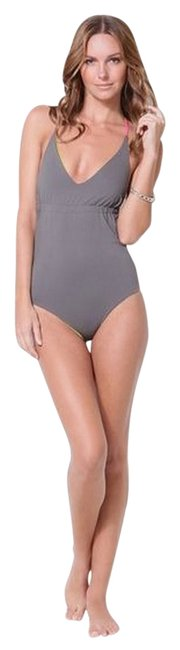 Item - Gray / Yellow Spot X Reversible One-piece Bathing Suit Size 4 (S)