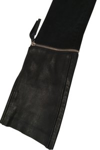 J Brand Leather Zipper Trouser/Wide Leg Jeans-Dark Rinse