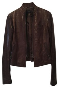 VEDA Brown Fitted Leather Jacket