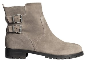 H&M Suede Gray Taupe Ankle Buckles Low Leather Chunky Taupe/Gray Boots