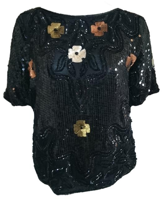 Other Vintage Bride Sequin Silk Beads Bead Top Black