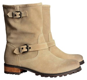 H&M Suede Gray Taupe Ankle Buckles Low Leather Chunky Tan Yellow Beige Taupe/Tan Boots