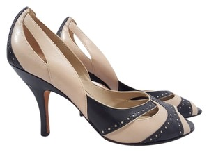 Tahari Peep Toe Size 9.5 Beige/Black Pumps