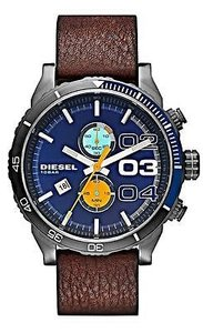 Diesel Diesel Dz4350 Mens Double Down Chronograph Brown Round Leather Strap Wrist Watch