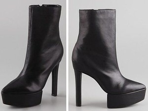 Theory Theyskens Womens Leather Heels Stil Platform Black Boots