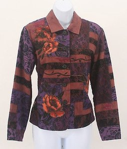 Coldwater Creek Sp Multi Applique Embroidered Lace B93 Jacket