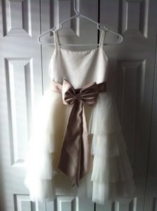 David's Bridal Cream Flower Girl Dress with Toffee and Beige Sashes