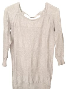 LC Lauren Conrad Bow Cream Heather Three-quarter Sleeves Sweater Knit Top Light grey