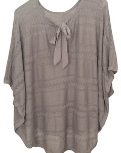 LC Lauren Conrad Cap Bow Tie Knit Poncho Crochet Sweater