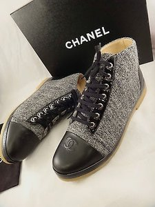 Chanel Black Patent Leather Gray Boots