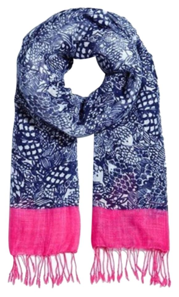83494e14f93754 Lilly Pulitzer for Target Blue White Pink Scarf/Wrap - Tradesy