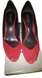 Franco Sarto Red suede black patent Pumps
