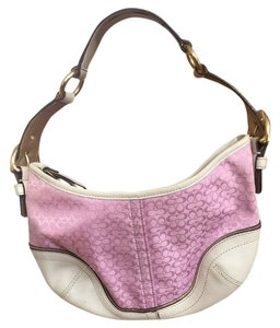 Coach Satchel in Pink/White