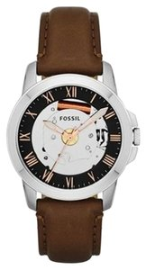 Fossil Fossil Grant Skeleton Dial Brown Leather Mens Watch FS4870