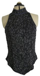 Other Bling Silk Sleeveless Top Black with Silver and black Beading