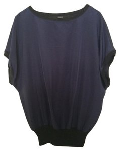 Ann Taylor Modern Clean Design Edgy Top DARK NAVY