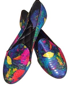 B Brian Atwood Smoking Slipper Snakeskin Snakeskin Multicolored Flats