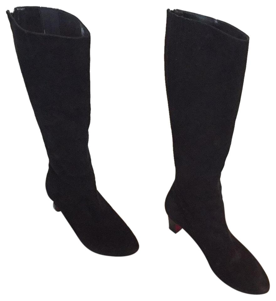 info for df2d8 26830 Christian Louboutin Black Suede Slim Mid Calf with Rear Zipper  Boots/Booties Size EU 37 (Approx. US 7) Regular (M, B) 57% off retail