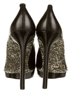 Lanvin Pumps Metallic Prism Studded Black Platforms