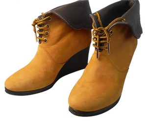 Chloé Chloe Suede Wedge Ankle Mustard yellow Boots