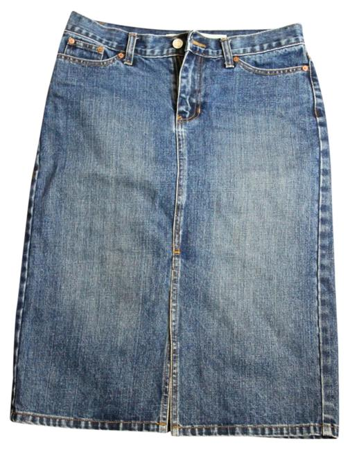 Gap Denim Front Slit Skirt Dark Denim