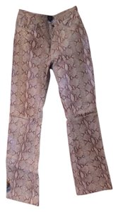 Steve Madden Leather Straight Pants tan & brown snakeskin pattern