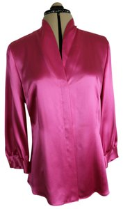 Lafayette 148 New York Silk Satin Shawl Collar Top Rose Pink