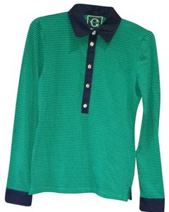 C. Wonder Polo Longsleeve Button Down Shirt Kelly Green / Navy