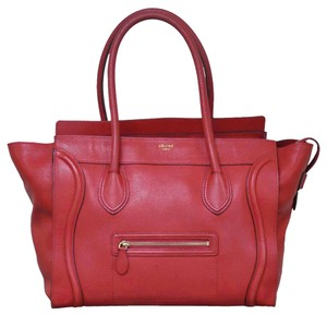 Céline Phantom Luggage Handbag Tote in Red