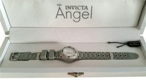 Invicta New Women's Invicta Angel Light Gray Stainless Steel Rubber Watch