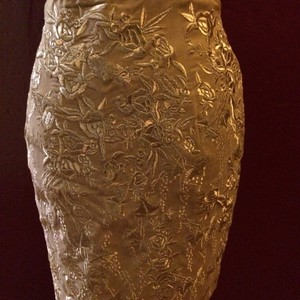 Escada Silk Embroidered Pencil Mini Skirt beige & gold