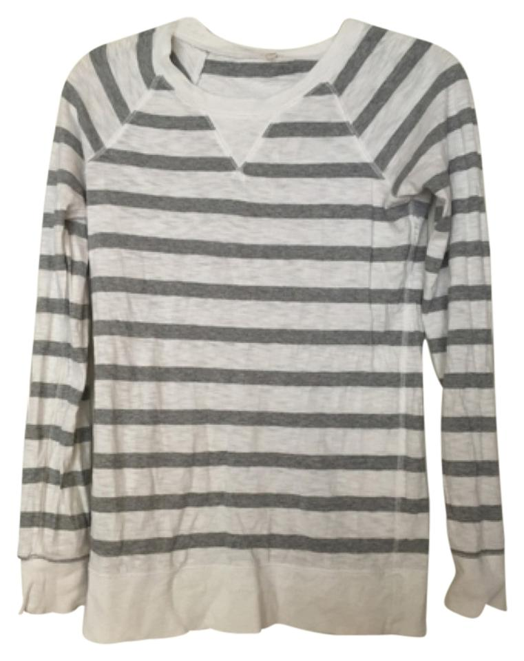 756797d20d J.Crew Grey and White Striped Tee Shirt Size 6 (S) - Tradesy