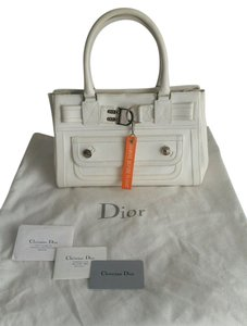 Dior Christian Flight Leather Handbag Clutches Satchel in White