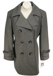 Anne Klein Womens Double-breasted Wool Grey Large New Pea Coat