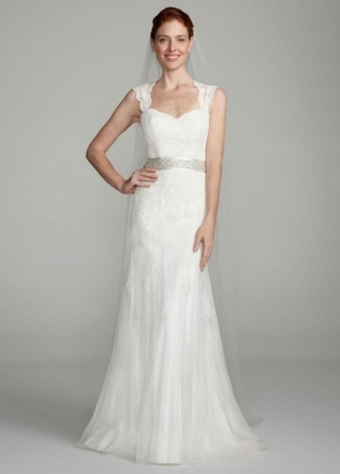 Davids Bridal Ivory Cap Sleeve Slim Gown With Keyhole Back Style Vw9768 Traditional Wedding Dress