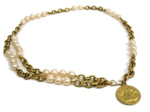 Chanel Auth CHANEL Artificial pearl Belt Metal Ivory/Gold (BF078503)