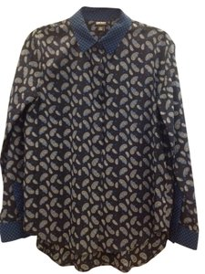 DKNY Paisley Silk Button Down Shirt Dark Blue