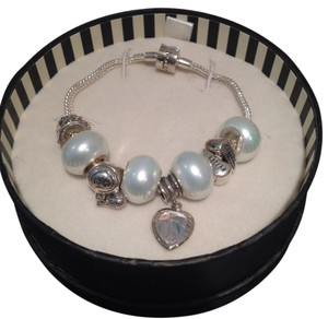 Rhona Sutton 925 Sterling Silver Crystal Heart Charm Bracelet w Glass Beads
