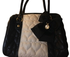 Betsey Johnson Satchel in Black and cream