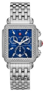 Michele NWOT Michele Diamond Deco 18 Blue Mother Of Pearl Dial Watch $2100 (face $1800 bracelet $300)