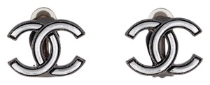 Chanel Chanel Earrings CC Logo Clip On Clip-on Gunmetal Silver Hardware SHW Authentic Classic BoxMedium Large 2015 2016 15 16 Current Model