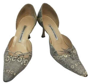 Manolo Blahnik Monolo Animal Print BEIGE/GRAY Pumps