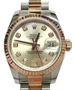 Rolex Rolex Ladies Datejust 18 Karat Rose Gold & Stainless Steel With Diamond Dial Watch 179171 WDO
