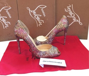 Christian Louboutin Nib Size 37.5 Demi You Half D'orsay 100mm Demi You Half D' Orsay Size 37.5 Pink Rosette Gold Glitter Pumps