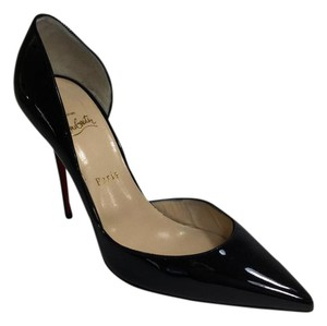Christian Louboutin Patent Leather Pointed Toe Stiletto Red Sole Black Pumps