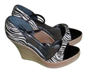 Type Z Zebra pony hair with black piping Wedges