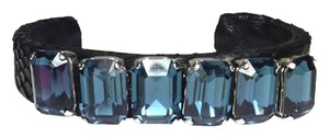 "Ted Rossi Ted Rossi ""J'Amour Noir"" Octagonal Blue Swarovski Crystal Gem Black Python Leather Cuff Bracelet New"